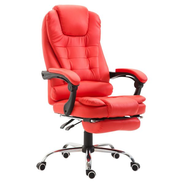HomCom High Back Reclining Office Chair Swivel Executive Napping PU Seat w/Footrest Red | Aosom