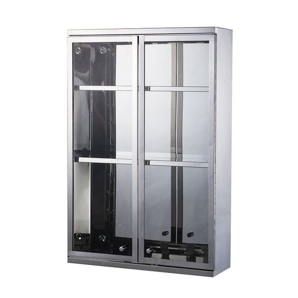 HomCom Vertical 24ᄀᄆ Stainless Steel Floating Wall Mounted Glass Door Medicine Display Cabinet / Mount Glass bathroom medicine cabinet w/ Shelves | Aosom