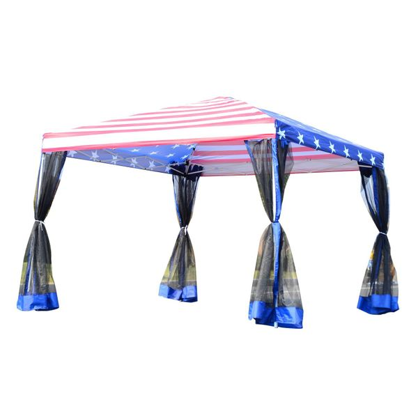 Outsunny 10' x Pop-Up Canopy Tent with Mesh Walls - American Flag / Party 10x10 EZ Pop Up Patriotic tent with netting Gazebo Outdoor US Bag | Aosom