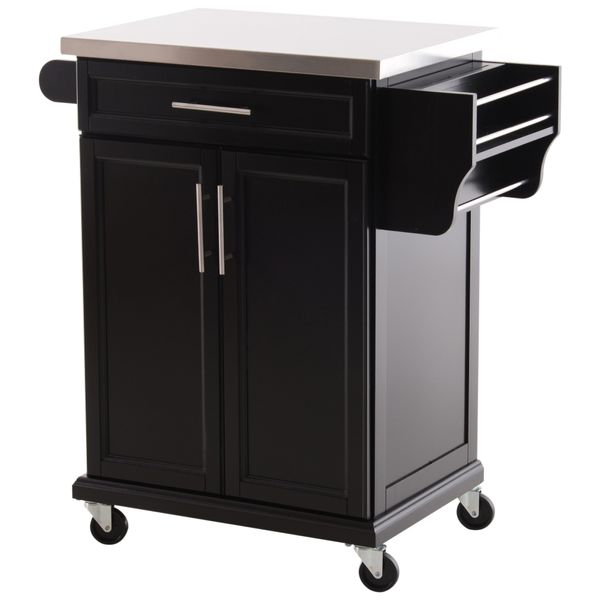 HomCom Rolling Wooden Kitchen Trolley Cabinet Drawer Storage Utility Cart | Aosom