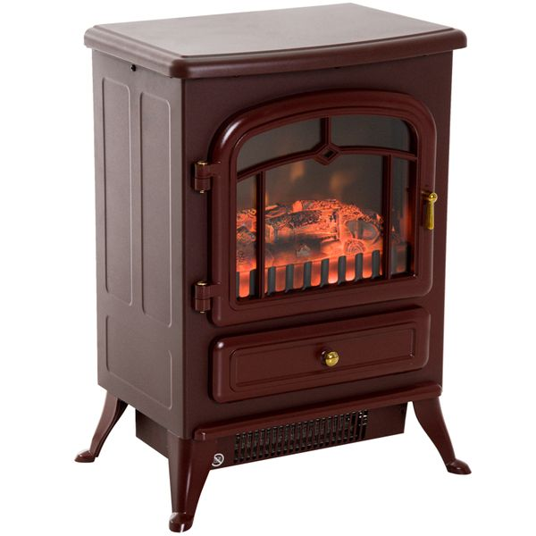 "HomCom 16"" 1500W Free Standing Electric Fireplace Wood Burning Portable Stove Heater - Red / freestanding electric fireplace heater 