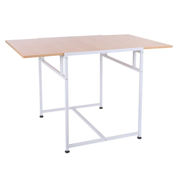 "HOMCOM White 47"" Slide Folding Table Wooden Writing Desk Home Office Desk For Small Spaces