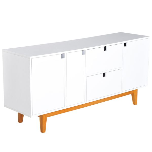 """HOMCOM 57"""" Two Tone Contemporary Sideboard Buffet Table Storage Cabinet - White 
