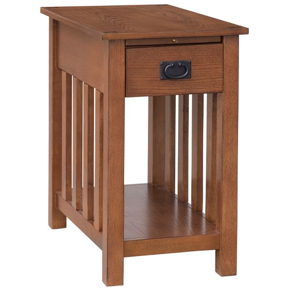 "HOMCOM 24"" Wooden Side Accent End Table with Drawer Tray and Storage Shelf 