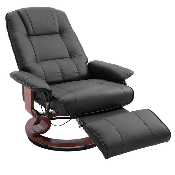 HOMCOM Faux Leather Adjustable Manual Traditional Swivel Base Recliner Chair with Footrest - Black AOSOM.COM
