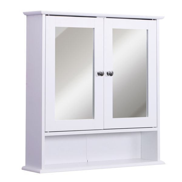 kleankin Wall Mounted Bathroom Storage Cabinet with Mirror and Double Doors - White | Aosom