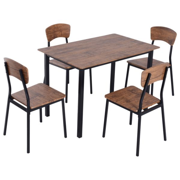 HomCom 5 Piece Modern Counter Height Small Kitchen Table and Chair Dining Furniture Set | Aosom