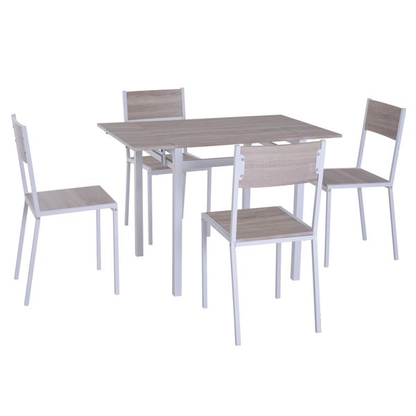 HOMCOM 5 Piece Drop Leaf Counter Height Dining Table and Chairs Set - Light Grey/White|AOSOM.COM