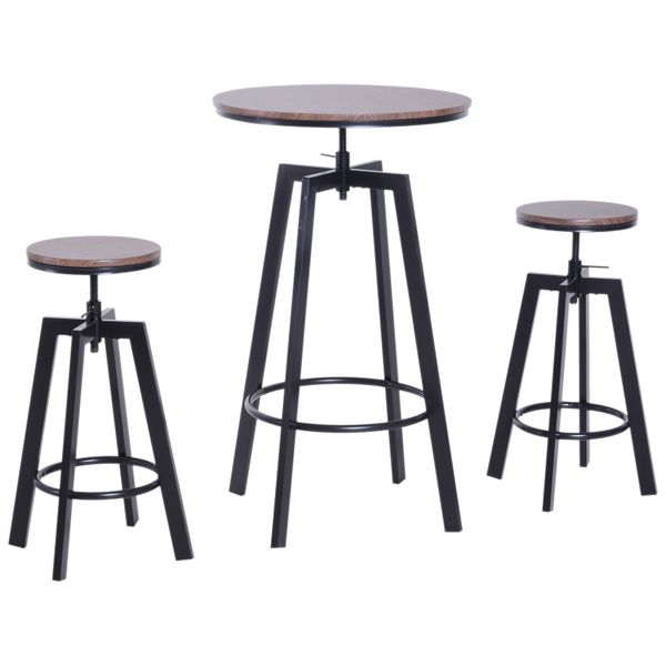 HOMCOM 3 Pieces Bar Table Set with 2 Stools Steel Pub Dining Desk Chairs Round Height Adjustable|AOSOM.COM