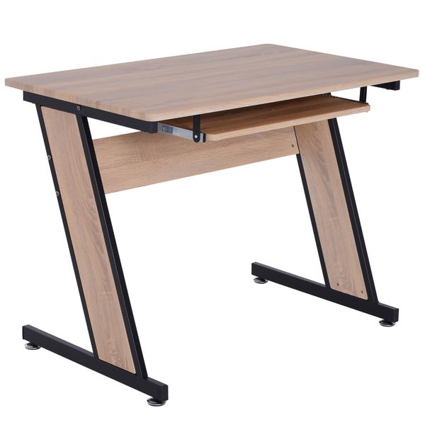 HOMCOM Computer Desk Wood Top Office Workstation PC Laptop Study Table  w/ Keyboard Tray|AOSOM.COM