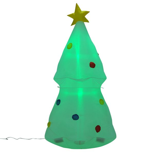 HomCom 6' Holiday Inflatable Christmas Tree LED Lighted Outdoor Yard Decoration / LED lit outdoor inflatable christmas tree decoration | Aosom