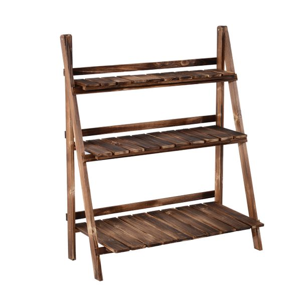 "Outsunny Flower Stand32"" x 15"" Wooden 3-Tier Ladder Plant Stand Flower Stand Outdoor Garden Shelf 