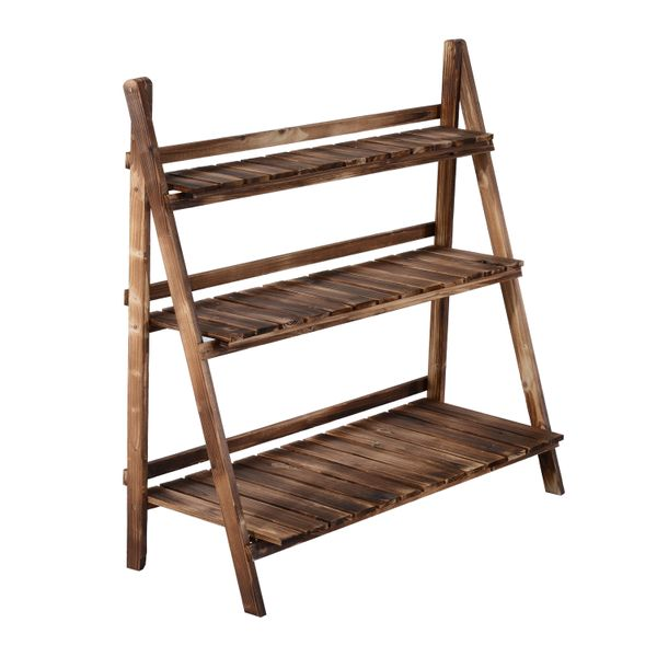 """Outsunny Flower Stand37""""H Wooden 3-Tier Step Style Plant Stand Outdoor Garden Flower Shelf 