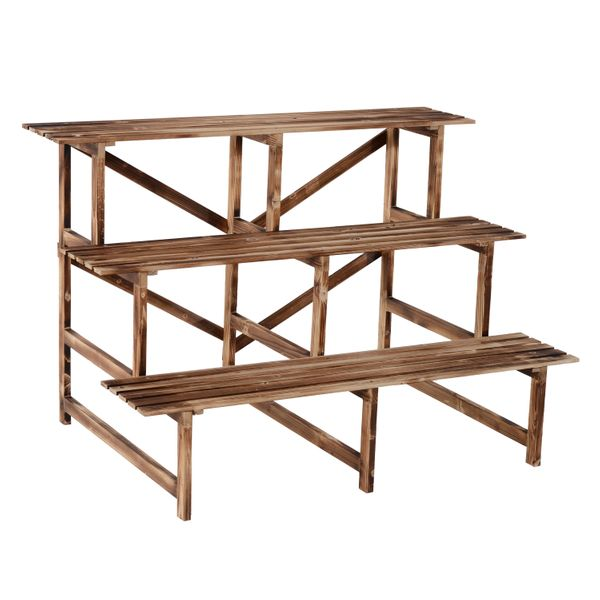 "Outsunny Flower Stand47"" Wooden 3-Tier Step Style Plant Stand Outdoor Garden Flower Shelf 
