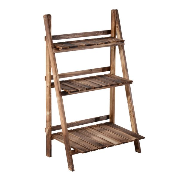 """Outsunny Flower Stand24""""x 14"""" x 37"""" Wooden 3-Tier Step Style Plant Stand Outdoor Garden Flower Shelf   Aosom"""