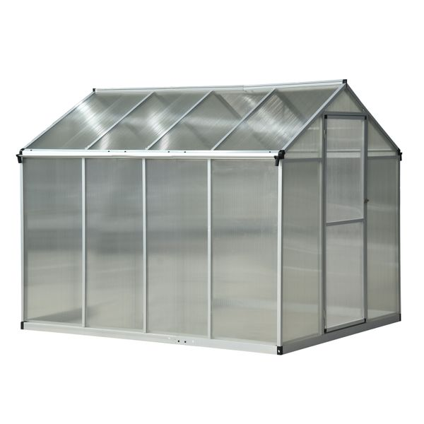 8' x 6' x 6.5 Polycarbonate Aluminum Framed Portable Walk-in Garden Greenhouse with Opening Roof AOSOM.COM