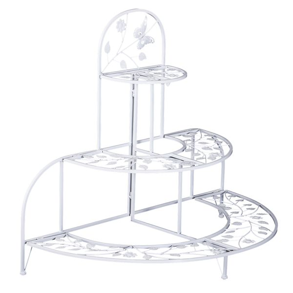 Outsunny 3' 3 Tier Metal Butterfly and Leaf Outdoor Potted Plant Stand - White | Aosom