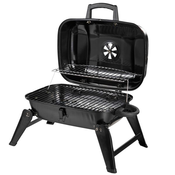 Outsunny Portable Tabletop Charcoal Grill BBQ Camping Picnic Cooker Air Vent|AOSOM.COM