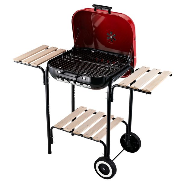 Outsunny Charcoal BBQ Trolley Barbecue Grill Patio Outdoor Garden Heat Resistant Rolling | Aosom