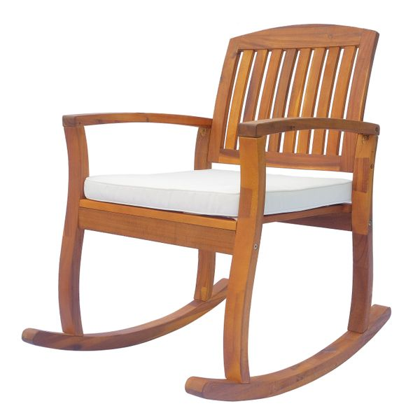 Outsunny Acacia Wood Outdoor Rocking Chair Porch Rocker w/ Cushioned Seat / outdoor acacia wood cushioned rocking chair | Aosom
