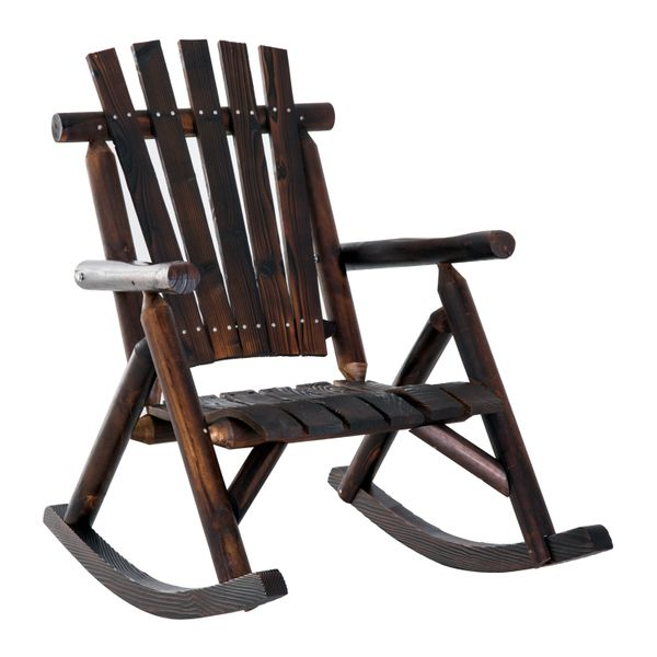 Outsunny Fir Wood Rustic Outdoor Patio Adirondack Rocking Chair Porch Rocker / outdoor adirondack rocking chair | Aosom