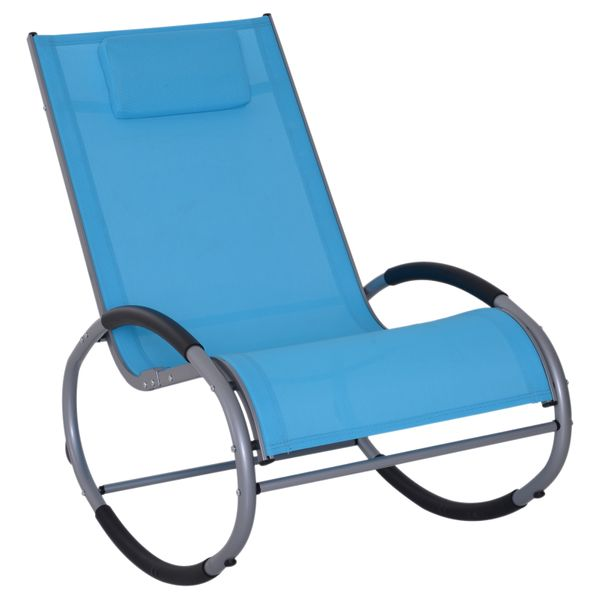 Outsunny Zero Gravity Rocking Chaise Lounge Sling Reclining Chair - Blue|AOSOM.COM