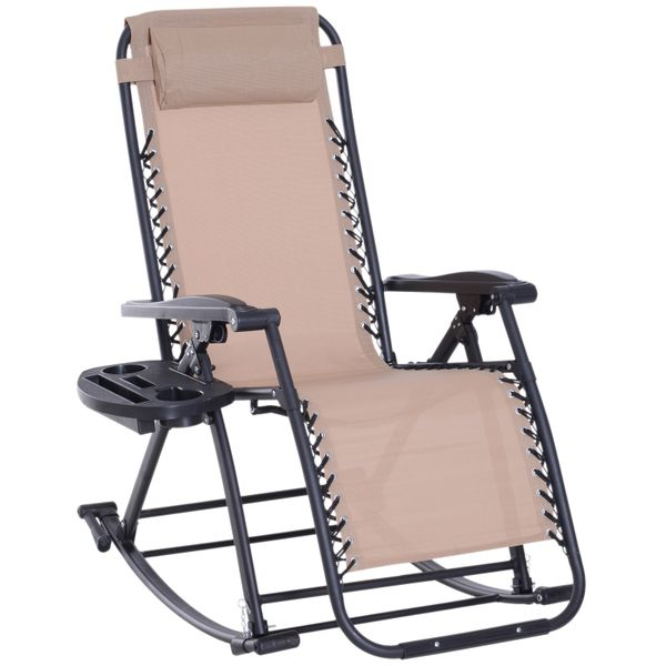 Outsunny Folding Zero Gravity Rocking Lounge Chair with Cup Holder - Beige|AOSOM.COM