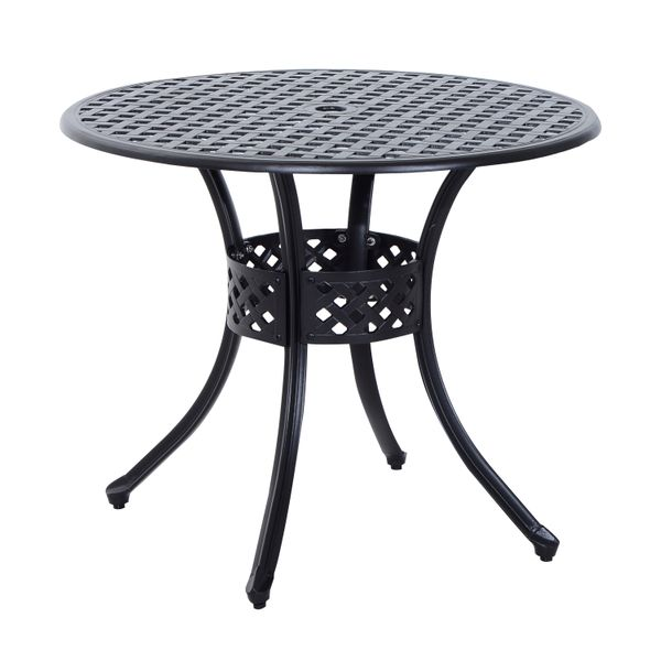 Outsunny 33 Inch Solid Aluminium Metal Backyard Furniture Circular Dining Table Black | Aosom