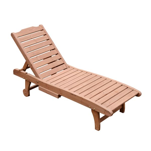 Outsunny Wooden Outdoor Chaise Lounge Patio Pool Chair w/ Pull-Out Tray / reclining outdoor wooden chaise lounge | Aosom