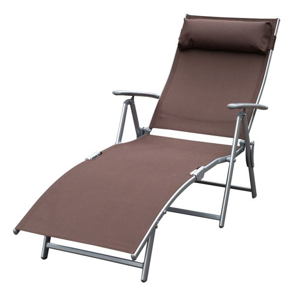 Outsunny Steel Sling Fabric Outdoor Folding Chaise Lounge Chair Recliner - Brown  Patio Reclining Deck with Cushion fabric outdoor lounge chair|Aosom.com