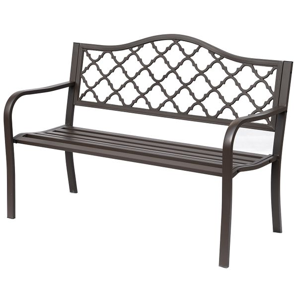 Outsunny Antique Style Outdoor Cast Iron Front Porch Bench Deck Loveseat|AOSOM.COM