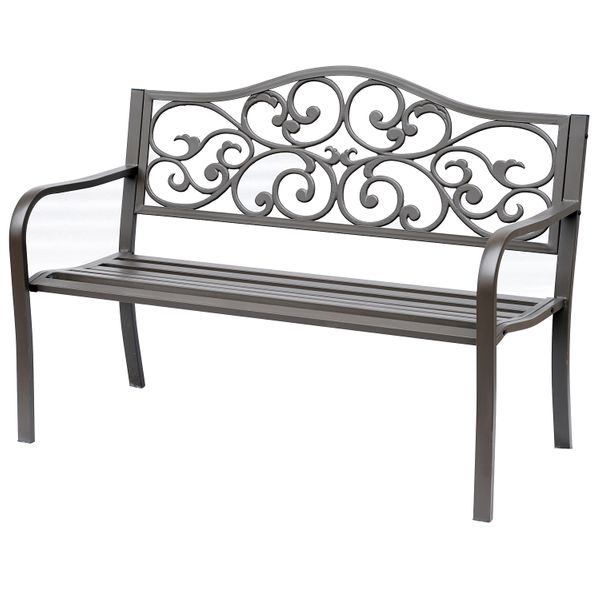 """Outsunny 50"""" Steel Vintage Floral Garden Cast Iron Patio Bench Outdoor Double Seat Chair AOSOM.COM"""