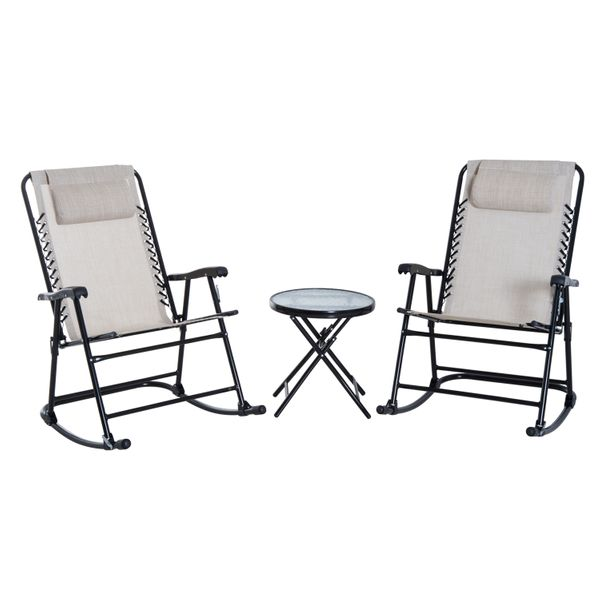 Outsunny 3 Piece Outdoor Table Seating Set Folding Rocking Chair w/ Coffee Desk - Cream White | Aosom