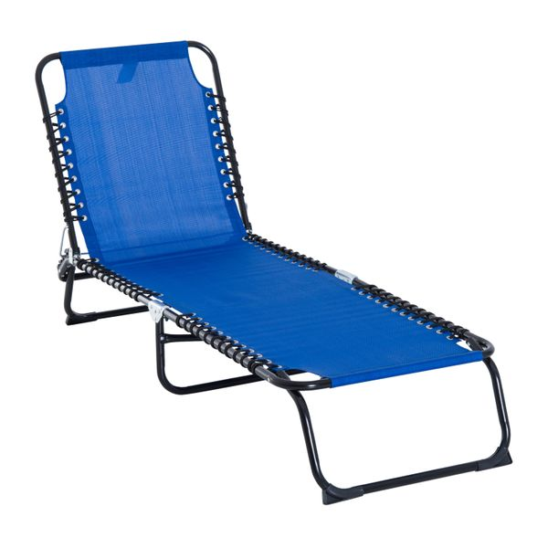 Outsunny 3-Position Portable Reclining Beach Chaise Lounge Outdoor Patio Adjustable Sleeping Bed - Dark blue adjustable outdoor lounge chair|Aosom.com