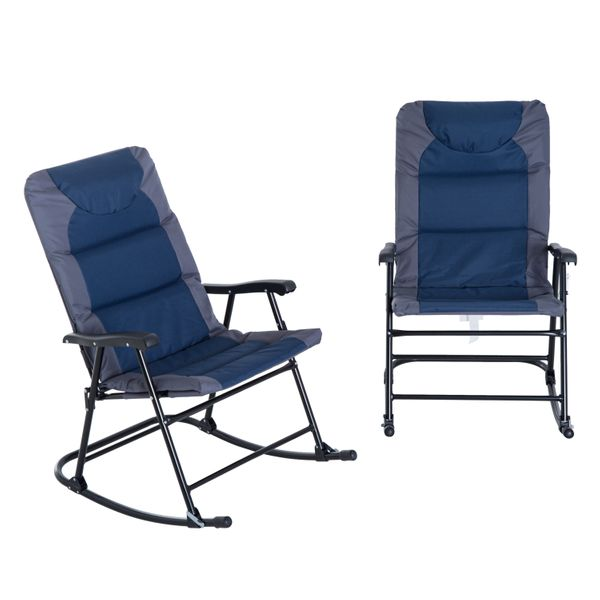 Outsunny Outdoor Camping Folding Rocking Chair Set of 2 - Navy Blue and Grey / folding padded camping rocking chairs | Aosom