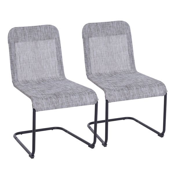 Outsunny 2pc Mesh Texteline Fabric Sling Outdoor Patio Furniture Bow Back Dining Chair Set | Aosom