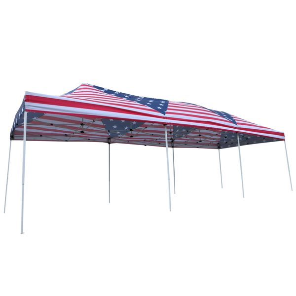 Outsunny 29' x 10' Pop Up Canopy Party Wedding Event Tent with Carrying Case - American Flag|AOSOM.COM