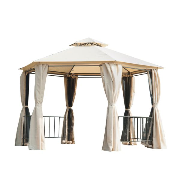 Outsunny Two-Tiered Garden Gazebo Outdoor Hexagonal Canopy with Removable Mesh Curtains Sturdy Patio Sunshade Shelter - Beige | Aosom