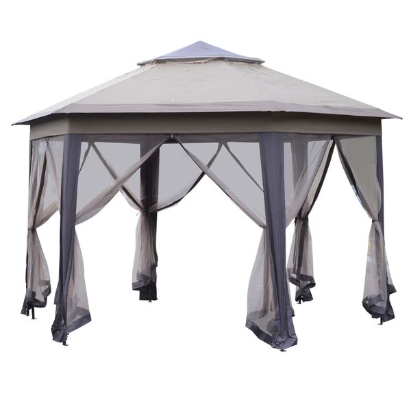 Outsunny Double Roof Hexagon Patio Gazebo Outdoor Instant Shelter with Netting|AOSOM.COM