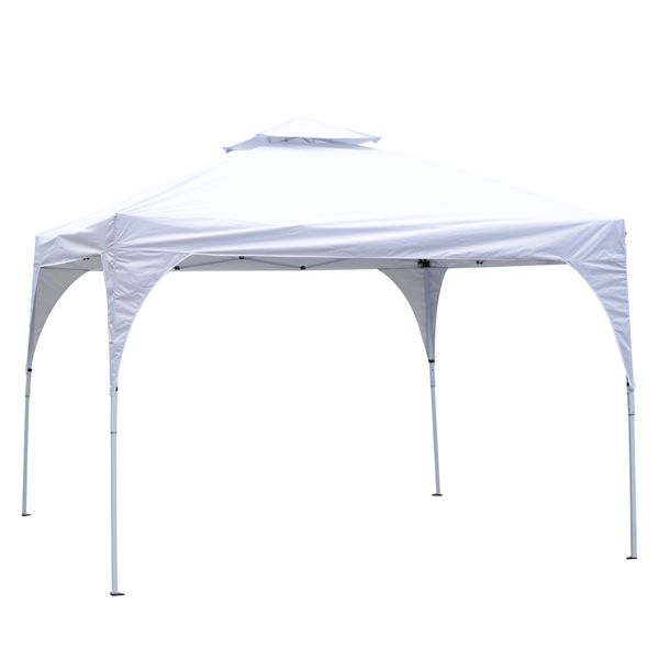Outsunny 10' x 10' 2- Tier Outdoor Portable Folding Sun Shade Pop Up Tent Canopy - White|AOSOM.COM