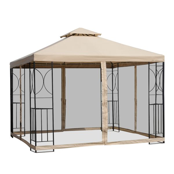 Outsunny 10' x 10' Steel Fabric Square Outdoor Gazebo with Mosquito Netting - Sand|AOSOM.COM
