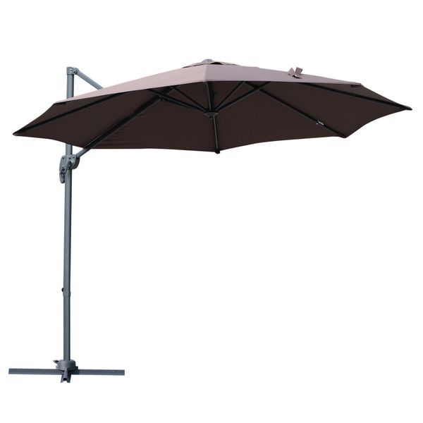 Outsunny 9.5' Hanging Tilt Offset Cantilever Patio Umbrella with Base Stand - Coffee|AOSOM.COM