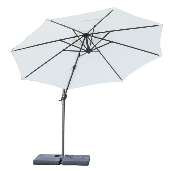 Outsunny 9.5' Hanging Tilt Offset Cantilever Patio Umbrella with Base Stand - Cream White|AOSOM.COM