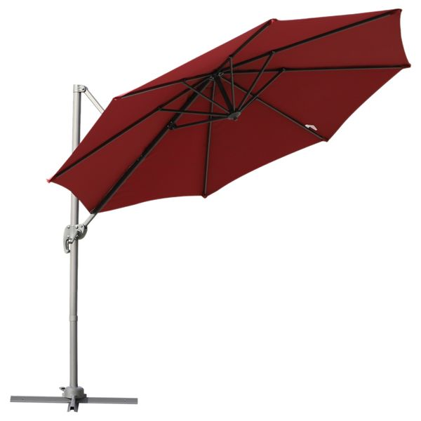 Outsunny 9.5' Hanging Tilt Offset Cantilever Patio Umbrella with Base Stand - Wine Red|AOSOM.COM