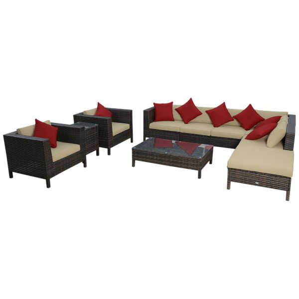 Outsunny 9 Piece Rattan Wicker Outdoor Patio Furniture Sectional Sofa Set|AOSOM.COM