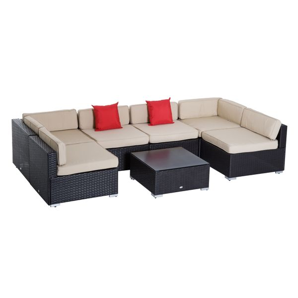 Outsunny 7 Piece Wicker Sofa Set Outdoor Rattan Patio Sectional Furniture with Cushion Free Assembly Cushioned Table and Chairs - Easy Hardware|Aosom.com