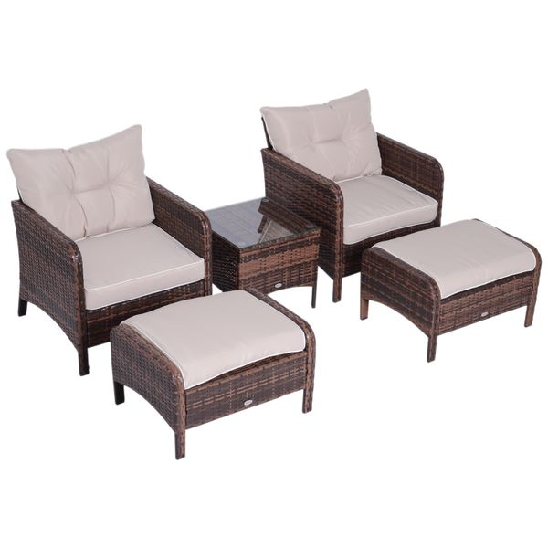 Outsunny 5 Piece Rattan Wicker Outdoor Patio Conversation Set with 2 Cushioned Chairs 2 Cushioned Ottomans and Glass End | Aosom