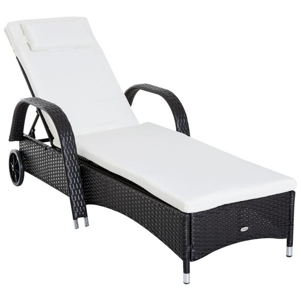 Outsunny Outdoor Rattan Wicker Poolside Chaise Lounge Chair Adjustable Backrest w/ Rolling Wheels - Dark Coffee / rattan chaise lounge chair | Aosom