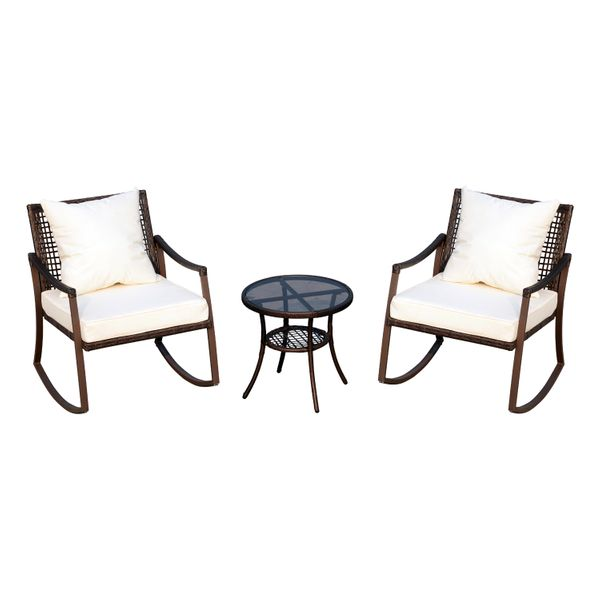 Outsunny 3 Piece PE Rattan Wicker Patio Rocking Chair Cushioned Garden Furniture w Accent Table - Brown  rattan rocking chair set|Aosom.com