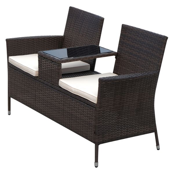 Outsunny 2 Seat Rattan Wicker Chair Bench with Tea Table Padded Seat- Brown|AOSOM.COM